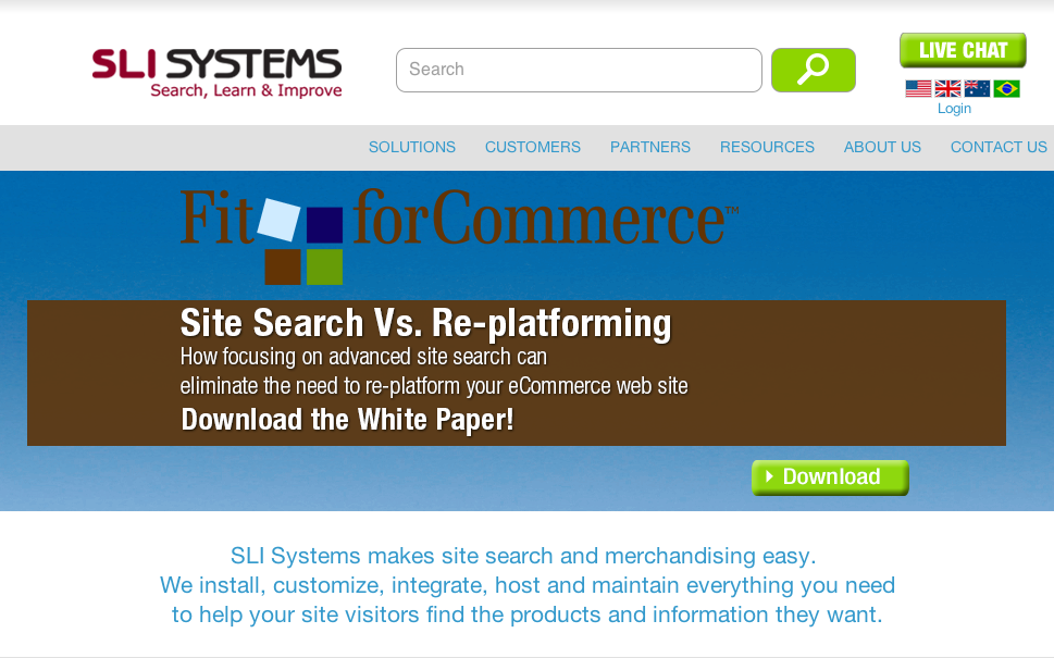 SLI Systems and FitForCommerce Retail Study; Site Search vs. Re-platforming