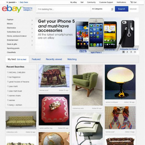 eBay's Personalised New Feed Feature